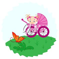 Baby girl from pram watching a butterfly, hand drawing vector illustration