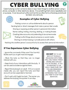 Therapeutic worksheets focused on helping kids and teens explore bullying. Topics include bullying behavior, bystander intervention, and bullying prevention. Coping Skills, Social Skills, Bullying Worksheets, Anti Bullying Activities, Social Activities, Stem Activities, Educational Activities, Cyber Bullying Poster, Cyber Safety