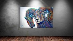 Big Eyes is a contemporary wildlife painting of a colorful bighorn ram by artist Teshia. You can view more Fine Art Prints on TeshiaArt Collection. Animal Illustrations, Lambs, Big Eyes, Aspen, Sagittarius, Galleries, Goats, Fine Art Prints, Original Paintings