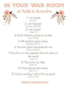 Ik kwam dit mooie lijstje met teksten tegen voor in je War Room, of wel Gebeds Kamer/Boek.   Ik heb mijn Gebed Boek.   10 Waarheden om te...
