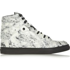 Balenciaga Printed leather high-top sneakers ($555) ❤ liked on Polyvore featuring shoes, sneakers, flats, white, balenciaga shoes, white shoes, white sneakers, white high top sneakers and white leather shoes