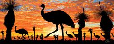 Australian Sunsets showcases artworks that capture the unique colours seen in the act of each setting sun over Australia by artist, Ian Coate. Aboriginal Art Animals, Aboriginal Dot Art, Aboriginal Painting, Encaustic Painting, Landscape Tattoo, Landscape Drawings, Landscape Art, Australian Painting, Australian Art