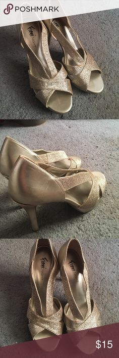 High Heels Gold, glitter High heels. Worn once in good condition. FIONI Clothing Shoes Heels