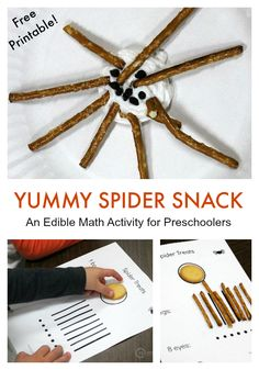 Work on simple counting skills while making this fun and easy preschool spider snack. Comes with a free printable sheet! Preschool Cooking, Fall Preschool Activities, Preschool Math, Fun Math, Kindergarten, Maths, Letter Activities, Classroom Activities, Classroom Ideas