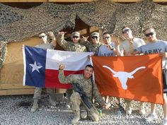 You know you're a Texan when you represent the Longhorns & your state in Afghanistan. 42nd Clearance Company-2012 Robertson(Victoria), Cris Ivan(El Paso), Michael Potts(Saginaw), Cody Kleshick(Waco), Jeremy Pbn Saavedra(Houston), Sgt. Becerra(San Antonio) In Afghanistan.