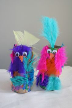Homemade parrots from an excellent blog for picture book related crafts