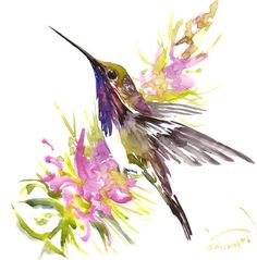 Hummingbird painting 12 x12 inbright color flowers by ORIGINALONLY                                                                                                                                                                                 More