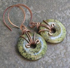 Antiqued Copper Serpentine Earrings, Hand Forged Hoopy Earwires... Mossy Green Donuts. $32.00, via Etsy.