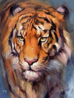 Wildlife Paintings, Wildlife Art, Animal Paintings, Animal Drawings, Tiger Drawing, Tiger Painting, Tiger Art, Big Cats Art, Cat Art