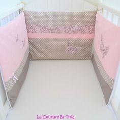 ensemble original tour de lit et gigoteuse 0 6 mois gris rose et fuchsia rayures toile roses. Black Bedroom Furniture Sets. Home Design Ideas