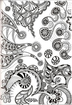Dutch Zentangles ™  (looks like 4 separate segments from each side of paper/ lots of negative space- possibly fill in with color?)