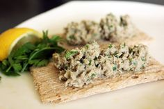 This simple recipe for sardine pate is great for snacking while on a Candida diet. Sardines are one of the healthiest fish and have a very low toxic load. Pate Recipes, Fish Recipes, Seafood Recipes, Soup Recipes, Snack Recipes, Healthy Recipes, Snacks, Healthy Meals, Healthy Food