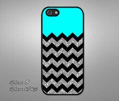 Aqua,black and silver striped iPhone case