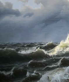 """Andreas Achenbach (1815-1910) ~ """"Tempête sur la Mer Norvégienne"""", 1837 (Détail)"""