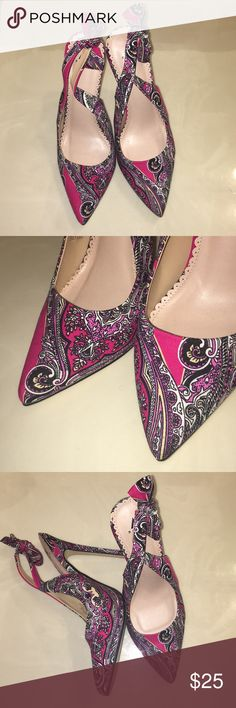 Women's pink designed heels -Great Condition -Pink/ beautiful floral designs -Worn a few times -4 in. heels -Size 9 ShoeDazzle Shoes Heels