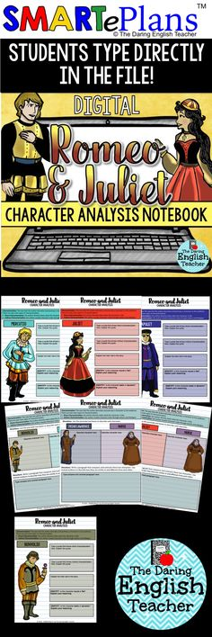Digital Romeo and Juliet Character Analysis Interactive Notebook. Ideal for the digital English classroom, this Google Drive resource includes more than 25 slides to help students understand characterization and dramatic foils.