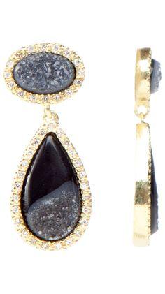 Oval and Tear Shaped Earrings, Black by Marcia Moran