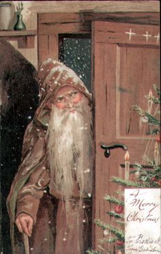 Father Christmas at the door. by jana Christmas Past, Victorian Christmas, Father Christmas, Primitive Christmas, Vintage Christmas Cards, Vintage Holiday, Country Christmas, Christmas Pictures, Winter Christmas