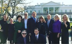 Ms Dockery left fellow Downton stars in the US when she flew back to be at Mr Dineen's side. The show's cast were later pictured, without her, at the White House on December 10 in a photo posted online by Allen Leech (centre, bottom right)
