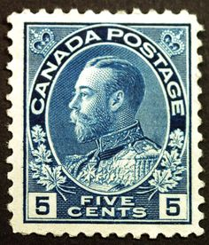 Canada #111 5c Dark Blue 1914 King George V VF *MLH* Full Gum CV $200+ Visit our Giant Rare Stamp Sale - Browse 1,500 Classic US & World Stamps and Postal History. http://stores.ebay.com/Little-Art-Treasures
