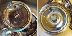 Clean Drip Pans (9 parts water, 1 part vinegar) soak 1 hour; pour on baking soda soak for 1 hour; scrub pans and rinse