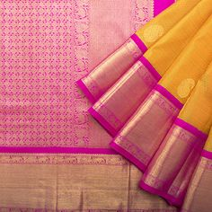 Sari / All Saris - Parisera Yellow Saree, Pink Saree, South Silk Sarees, South Indian Weddings, Simple Sarees, Saree Wedding, Bridal Sarees, Indian Sarees, Ethnic Sarees