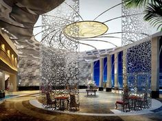 decorative screens in hotel lobby