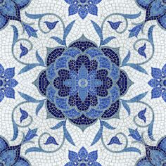 Aurelia, a jewel glass mosaic, is shown in Lapis Lazuli, Iolite, Mica, Absolute White, and Blue Spinel.