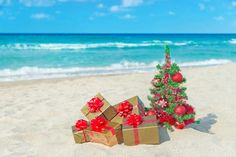 Photo about Christmas tree and golden gift with big red bow on the sea sandy beach. Image of heap, egipt, festivity - 35363812 Christmas In Heaven, What Is Christmas, Beach Christmas, Coastal Christmas, Christmas Vacation, Very Merry Christmas, Christmas Pictures, White Christmas, Christmas Holidays