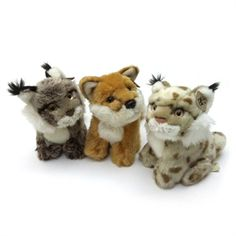 Plush forest animals, lynx & fox, 15cm Sold individually