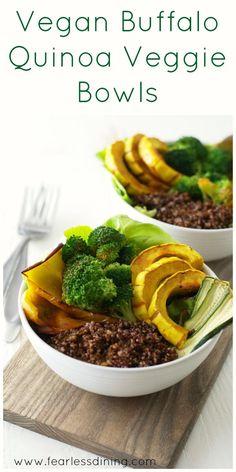 Vegan Buffalo Quinoa Veggie Bowls. Buddha bowl recipe. Easy delicata squash recipe. Vegetarian vegetable bowl. Gluten free Buddha bowl.
