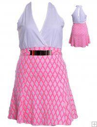 PINK TEXTURED SURPLICE HALTER DRESS WHOLESALE PLUS SIZE DRESSES  D9538P UNIT PRICE$14.75 1-1-1PACKAGE 3PCS