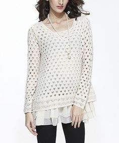 The open weave looks like little Mickey Mouse Ears.  This White Open-Weave Tiered Sweater - Women is perfect! #zulilyfinds