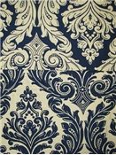 reversible blue & cream damask