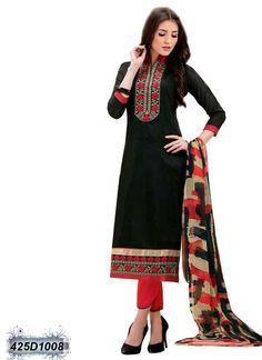Marvelous Black Coloured Chanderi Salwar Suit