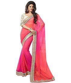 Bollywood Replica Saree Indian Designer Chiffon Sari shaded Pink Plain Saree