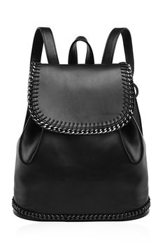 d3bbfa3c4ad7 Concise Chains and Solid Color Design Satchel Back Pack For Women Black  Backpack