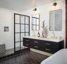 California Modern - Unique Contemporary Bathroom Design by CM Natural Designs Bathroom Renos, Bathroom Flooring, Small Bathroom, Master Bathroom, Bathroom Double Vanity, Dark Floor Bathroom, Modern Bathroom Tile, Glass Bathroom, Wood Flooring
