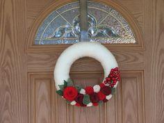 Festive Holiday Wreath - Christmas Decoration-Christmas Decor- 12 inch Yarn and Felt Flower Wreath etsy rusticowldecor