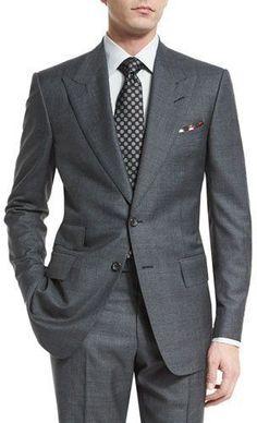 11ade23377eece Tom Ford Windsor Base Peak-Lapel Irregular-Check Suit, Charcoal - ShopStyle