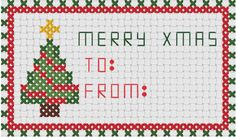 Christmas Cross Stitch Label Free PDF.