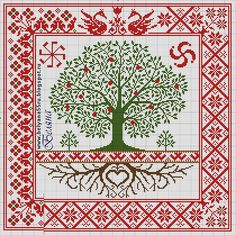 "Photo from album ""Схемы крестиком"" on Yandex. Celtic Cross Stitch, Cross Stitch Tree, Cross Stitch Pillow, Cross Stitch Samplers, Cross Stitch Flowers, Cross Stitching, Embroidery Motifs, Cross Stitch Embroidery, Cross Stitch Designs"
