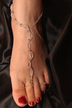 GLASS SEED beades barefoot sandals