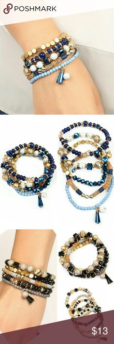 """MULTI BEADED STRETCH BRACELET SET Going heavy on eye-catching detail, these bracelet sets feature a mix of ornate etching and charm accents. Color:?Black, Green, Natural, Navy, Pink, Purple, Turquoise Material:?Base Metal, Acrylic Beads,?Elastic Measurement:?2.5"""" Width (Stretchable) *??Limit exposure to water, perfume or body cream Jewelry Bracelets"""
