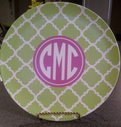 Personalized/ Monogram Quatrefoil Melamine Dinner Plate- Choose your Colors on Etsy, $21.50