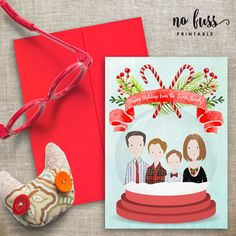 Custom Family Portrait Christmas Card  by NoFussPrintable on Etsy