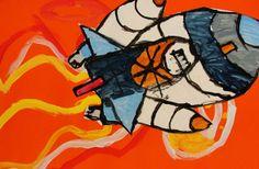 We vliegen naar de MAAN! Teken een raket met potlood of wasco, kleur in met verf of ecoline. Knip uit, en plak op een oranje (of andere kleur) papier, dat geverfd is.