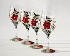 Set of 4 Wine Glasses and a BottleHand by NevenaArtGlass on Etsy, $146.90