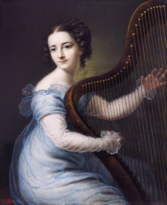 Dorette Spohr, née Scheidler. Karl Gottlob Schmeidler (German, 1772-1838). Ivory. Spohr (1787-1834), playing the harp, seated on a red-upholstered stool, wearing a blue gauze dress with white underdress, her dark hair upswept in a plait and dressed in ringlets. Dorette and husband Louis performed successfully together as a violin and harp duo. Louis composed the Sonata in C minor for violin and harp for Dorette.