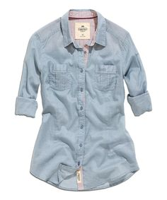 Love this Smoke & Blue Double Pocket Button-Up by TIMEOUT on #zulily! #zulilyfinds